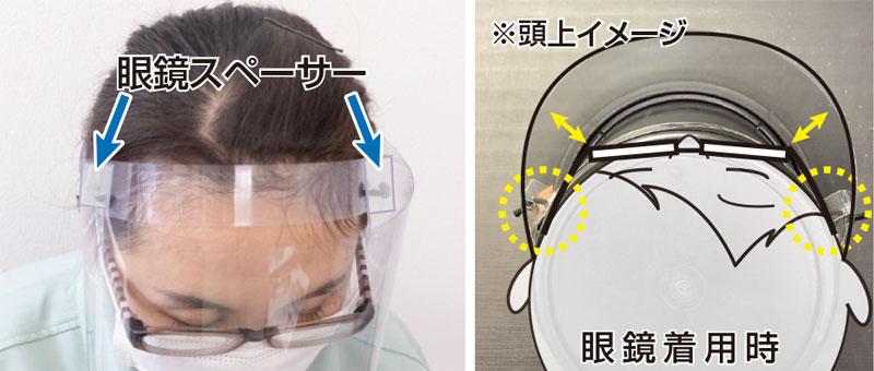 眼鏡を着けてもフェイスシールドと眼鏡が当たりにくい