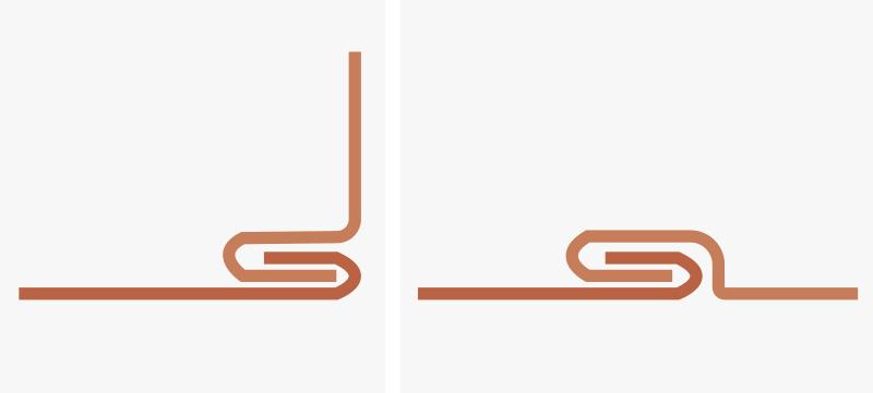 ハゼ折りカシメ加工の断面。銅のハゼ折りカシメ、銅の接合方法。